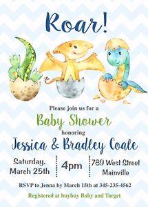 Image Is Loading Dinosaur Baby Shower Invitation Boy Party
