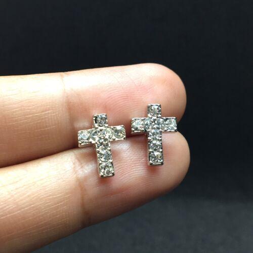 Petite Croix Boucles d/'oreilles clous fashion petit Mini Mignon 1 cm Ton Argent
