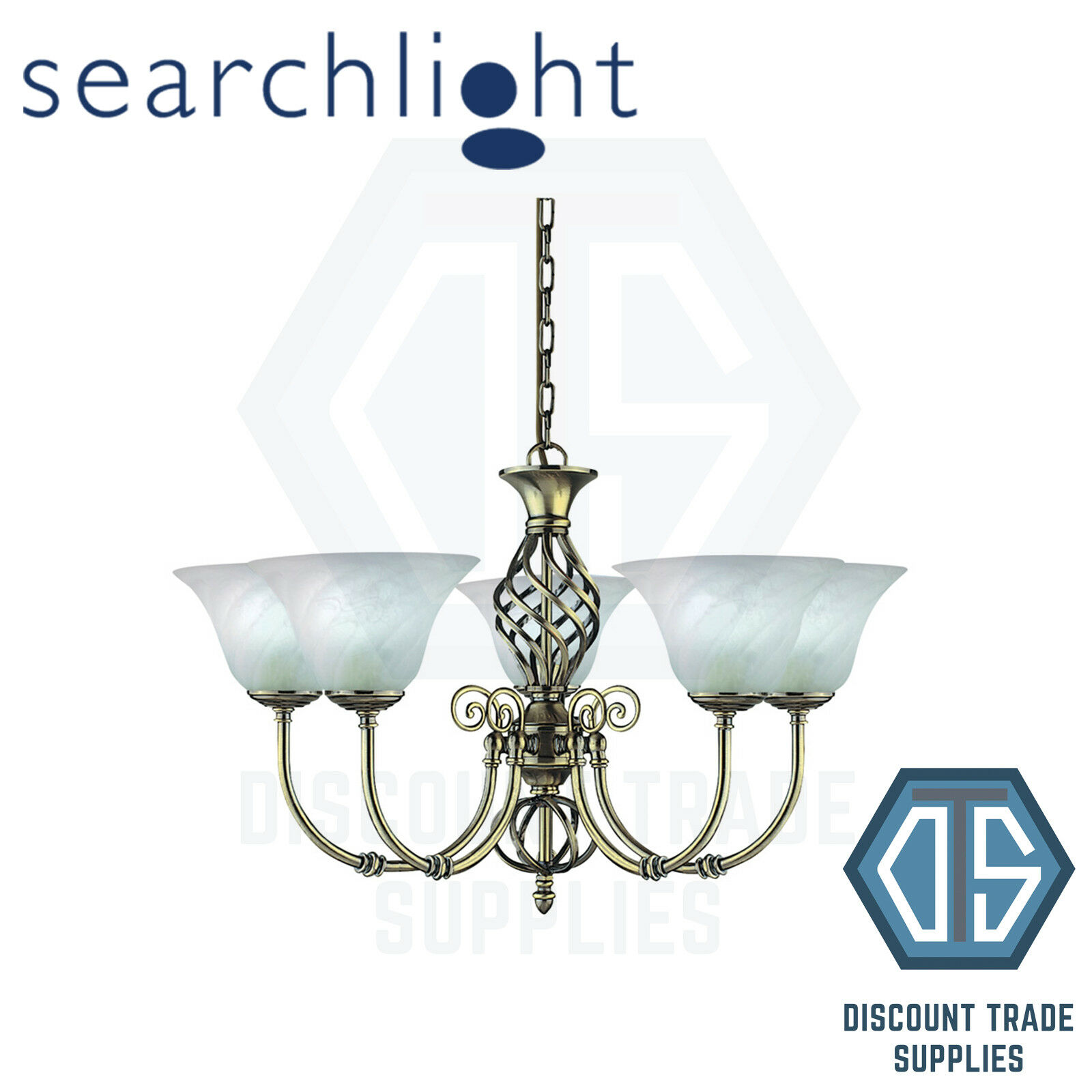 975-5 SEARCHLIGHT CAMEROON ANTIQUE BRASS 5 LIGHT FITTING, MARBLE GLASSES