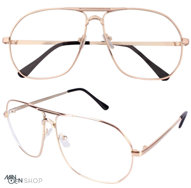 Rose Gold Clear Lens Flat Top Metal Frame Pilot Glasses Wire Trendy ...