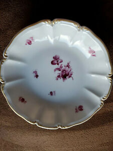 Vintage Nymphenburg Porcelain Trinket Dish White, Pink, Floral, Gilt Edge German