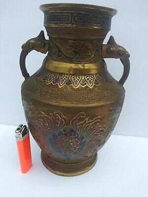 "Antiques Antique Chinese Brass Cloisonne Champleve Enamel Vase Figural Handles 10"" Floral"