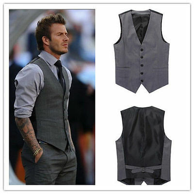 New Fashion Mens Beckham Style Formal Slim Fit Pocket Casual Vest Waistcoat Top