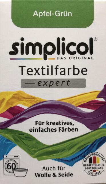 Simplicol Textil Farbe expert - Apfel Grün - auch für Wolle & Seide - 150 gr