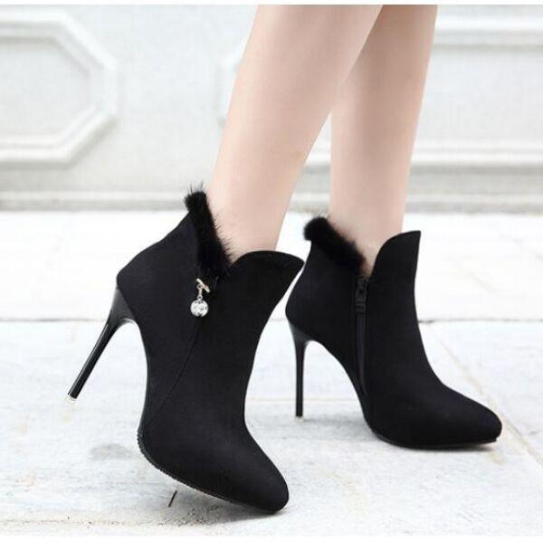 Stiefel Schuhe Stilett niedrig Stilettos 10.5 schwarz simil Leder CW738