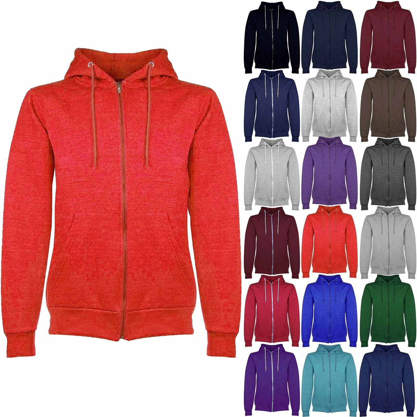 Mens Plain Hooded Hoodies Hoody American Fleece Zip Jacket Sweat Shirt Top