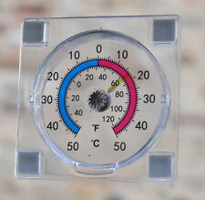 THERMOMETER Indoor/Outdoor Window +  STICK ON Fahrenheit and Centigrade scales