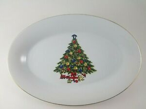 Sea-Gull-Fine-China-By-Jian-Shiang-14-034-x-9-034-Oval-Serving-Platter-Christmas-Tree