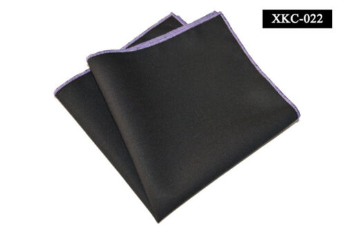 Men Cotton Black With Candy Color Rolled Edge Pocket Square Hanky Handkerchief