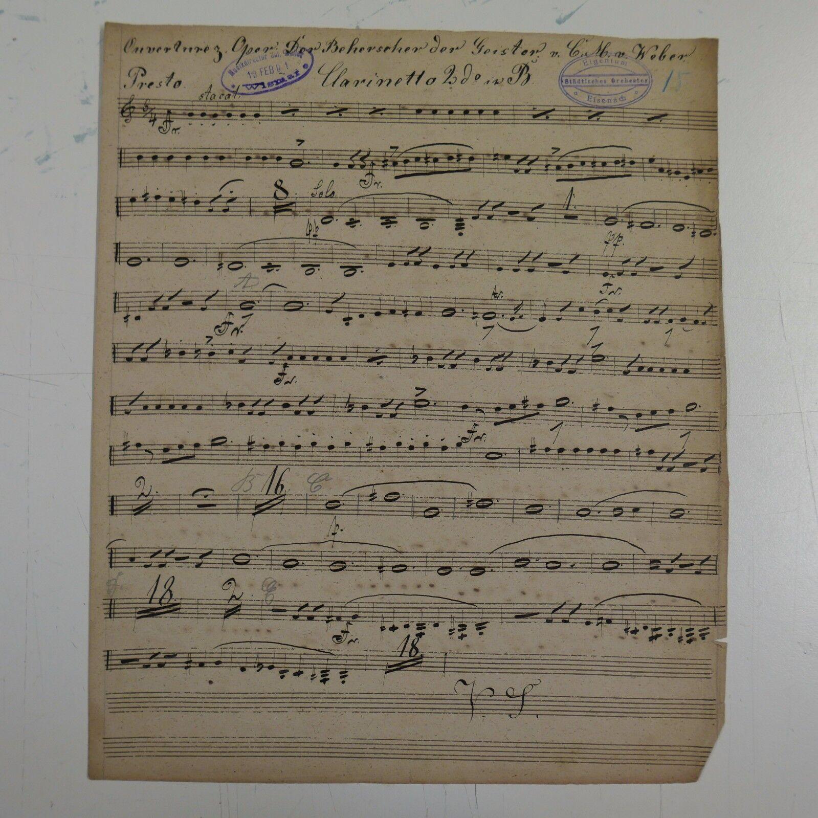 C M v WEBER DER BEHERRSCHER DER GEISTER clarinet2 part ,antique music manuscript