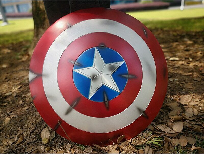CAPTAIN AMERICA Battle Damage Shield  made  in Aluminium 23  cosplay Metal shield  réduction en ligne