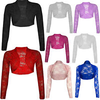 Ladies Women Long Sleeve Lace Floral Flower Embroided Collar Shrug Top Cardigan