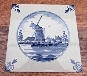 Delft Decorative Tile Windmill With Wall Hanger 15cm 6 Inch Square