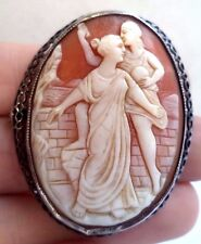 "ANTIQUE ESTATE MASTER CARVED SHELL CAMEO STERLING SILVER 1 7/8"" BROOCH!!! G6326M"