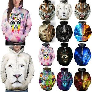 Men-Women-Hooded-3D-Wolf-Lion-Sweater-Sweatshirt-Jacket-Coat-Pullover-Jumper-Top