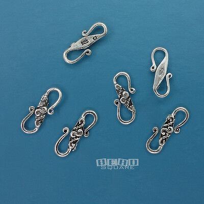 6 PC Antique Solid Sterling Silver ap.13mm Carved S Hook Clasp Connector #33270