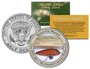 SPOON-FIN-MINNOW-Collectible-Antique-Fishing-Lures-JFK-Half-Dollar-US-Coin-COA