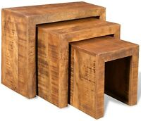 Vintage Nest Of 3 Tables Mango Wood Set Coffee Wooden Lamb Furniture Living Room