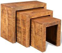 Vintage Nest Of 3 Tables Mango Wood Set Coffee Wooden Lamb Furniture Living Room