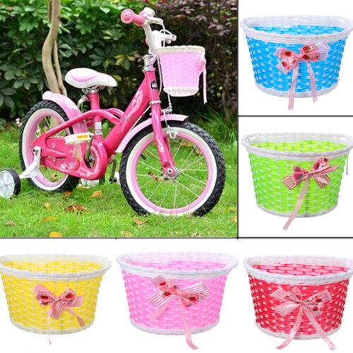 Children Kids Girls Bike Bowknot Front Bicycle Cycle Shopping Flower Basket/_ VX