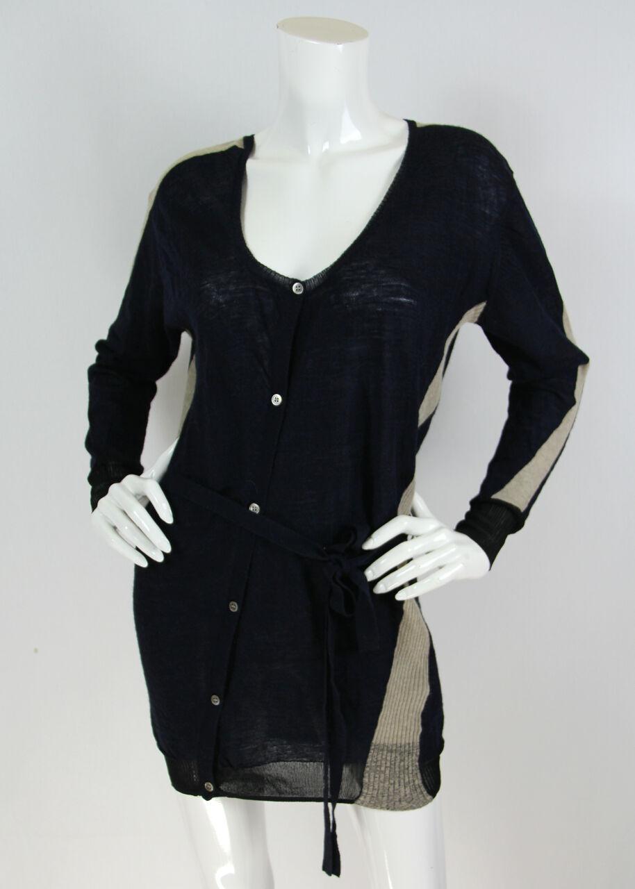 Pas de Calais Sz M Navy Wool Blend Asymmetrical Buttons Ribbed Cardigan Sweater