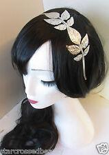 Silver Grecian Leaf Headband Vintage 1920s Leaves Tiara Bridal Boho Metal L97