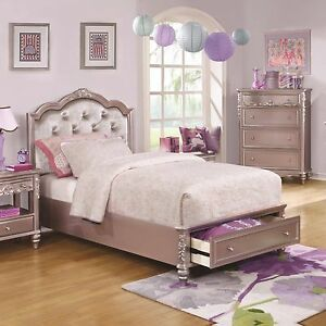 Lovely Metallic Lilac Rhinestone Tufted Queen Storage Bed Bedroom