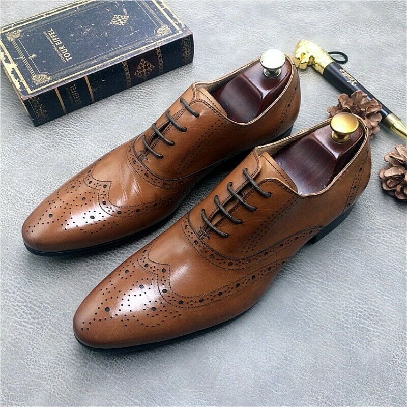 Mens Leather Lace Up Wing tip Brogue Leather Causal Wedding Oxfords shoes Vogue