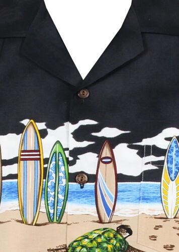 PLA ORIGINALE Camicia Hawaii Nero tavole da surf TARTARUGHE pressione al seno m-4xl