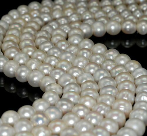 """10-11MM WHITE NATURAL PEARL GRADE A GEMSTONE ROUND LOOSE BEADS 15/"""""""