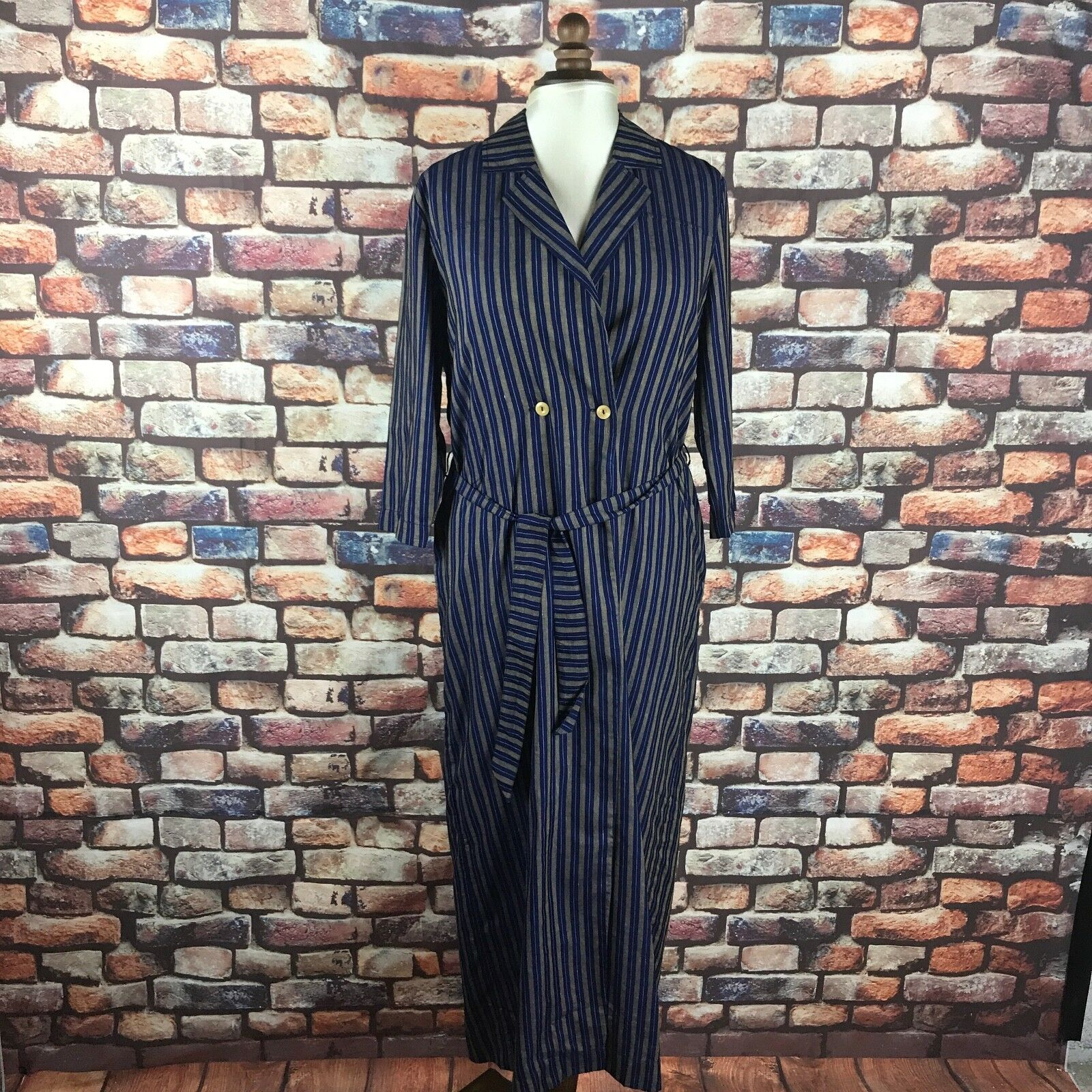 King and Tuckfield Woman's Indigo Long Wrap Dress Stripe RRP  Extra Small