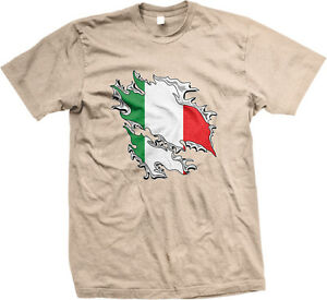 Italian Flag Colors Ripped Torn Through Shirt Heritage Team ITA Men/'s T-Shirt