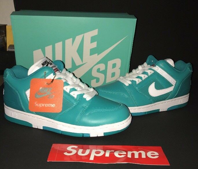 NIB SupremeNike SB Air Force 2 Lows Teal Shoes Size 10 sold out