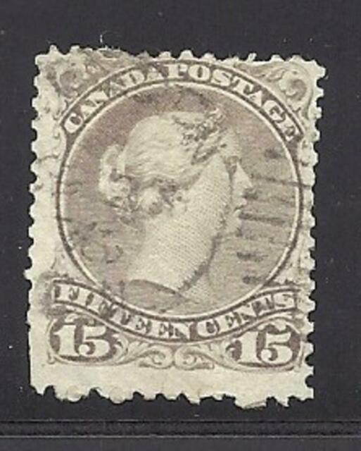 Canada Scott 29a 15c Large Queen grey purple Perf 11.5 x 12 F used. Cats $300