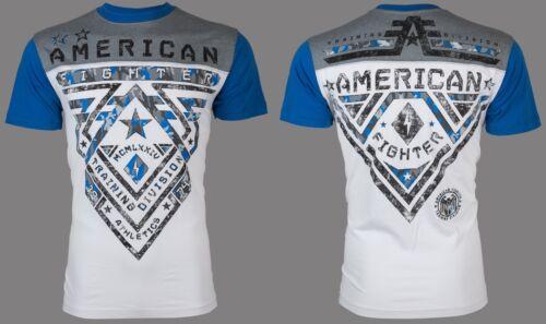 AMERICAN FIGHTER Mens T-Shirt CROSSROADS CAMO Athletic WHITE BLUE Biker UFC $40
