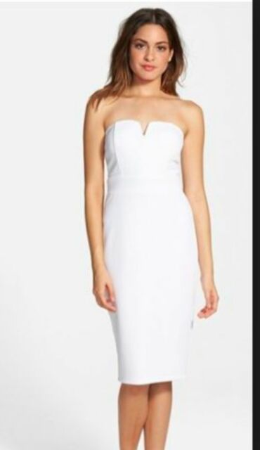 Nordstrom Schless Notched Strapless Midi Dress White Bridal Wedding Size 9