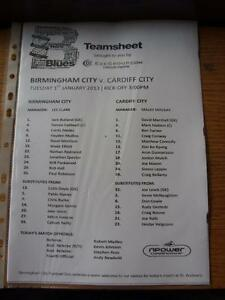 01012013 Teamsheet Birmingham City v Cardiff City Item In very good conditio - <span itemprop=availableAtOrFrom>Birmingham, United Kingdom</span> - Returns accepted within 30 days after the item is delivered, if goods not as described. Buyer assumes responibilty for return proof of postage and costs. Most purchases from business s - Birmingham, United Kingdom