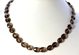 Rauchquarz-Kette-edelsteinkette-Halskette-Collier-Oval-facettiertte-925-Silber