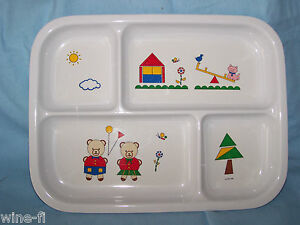 "Cups, Dishes & Utensils Feeding Plate Peco 1986 By Sheng & Jiumn Teddy Bears Cat 9 "" X 10 1/2 "" 4 Section"