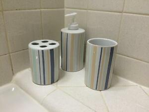 Image Is Loading Elegant Pastel Blue Stripe Ceramic Bathroom Accessory Set