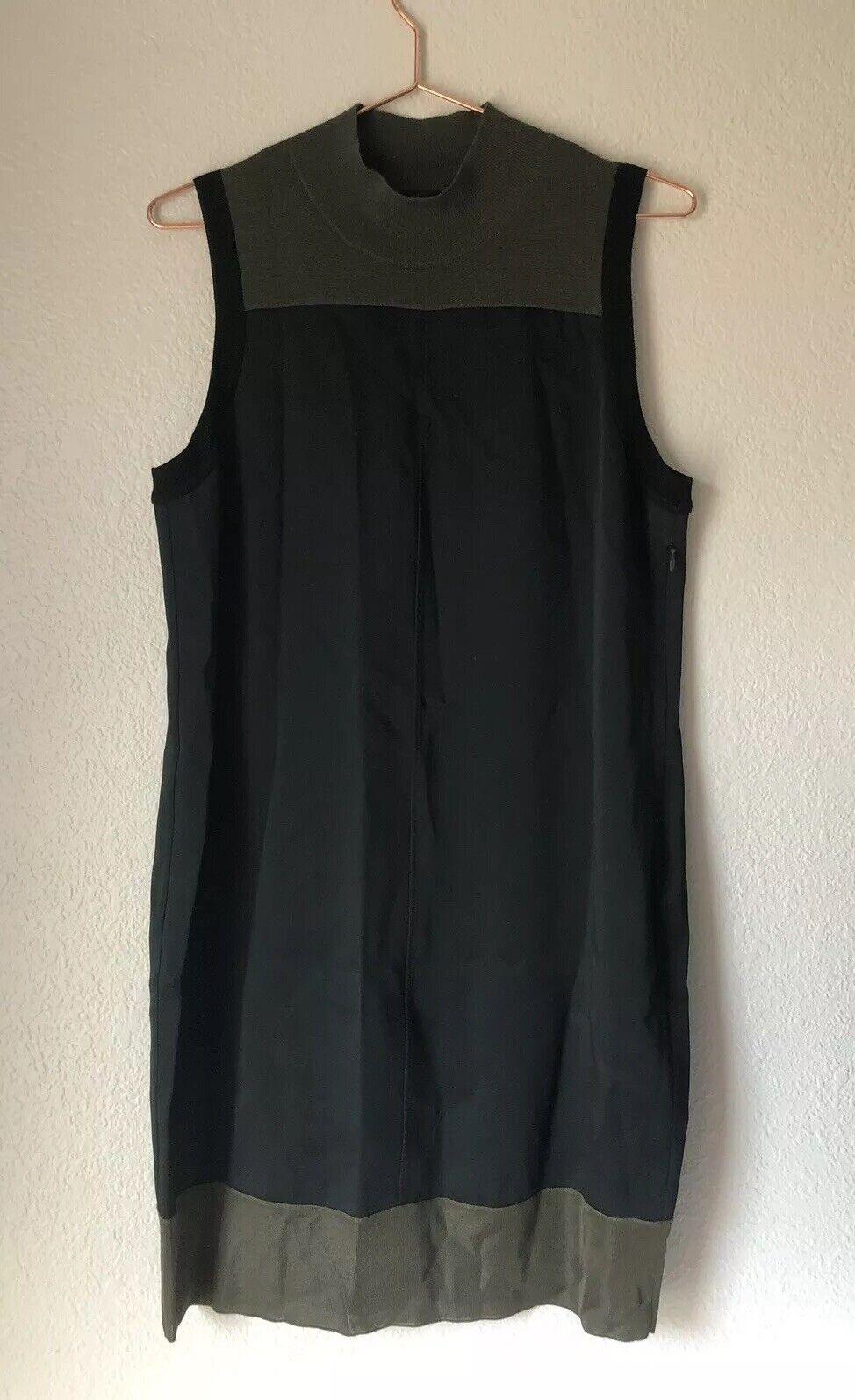 Rag & Bone Woherren Vivienne Farbe Block Shift Dress Sz M schwarz Olive Sleeveless