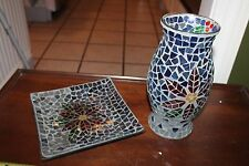 """"""" Poinsettia Holly"""" Mosaic Glass Plate and Candle Shade"""