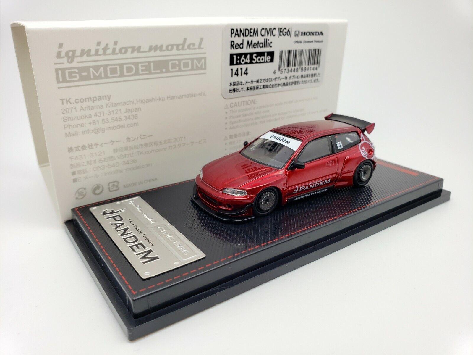 1 64 Ignición Honda Civic EG6 pandem Rojo Metálico IG1414 Tarmac funciona Exclusivo