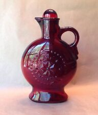 Vintage Ruby Red Pressed Glass Decanter Bottle Star with Stopper