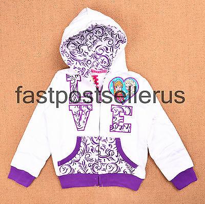 2-10 Quality Frozen Anna Elsa Girls Zip Winter Tracksuit Hoodie Jacket Jumper