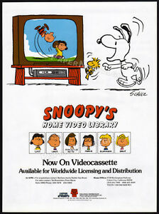 SNOOPY-039-S-Home-Video-Library-Original-1985-Trade-print-AD-poster-CHARLIE-BROWN