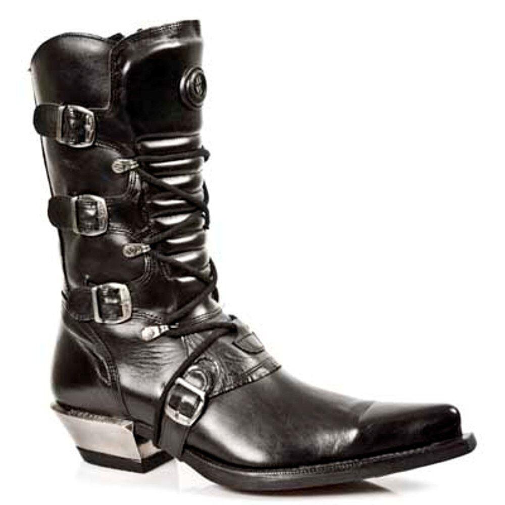 New Rock Boots Unisex Punk Gothic Stiefel - Style 7993  S1 Schwarz