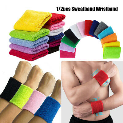 color Cotton Wrist Band Gym Sweat Wristband Sport Sweatband Tennis Hand Bands
