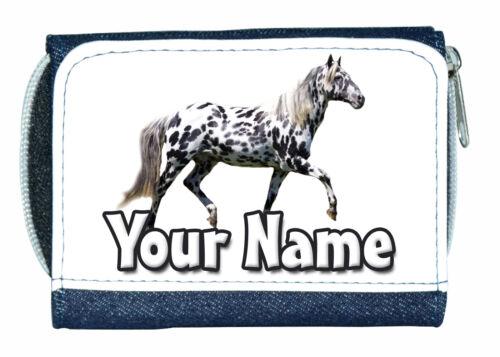 APPALOOSA HORSE PERSONALISED DENIM PURSE GREAT LADIES//GIRLS NAMED GIFT PRESENT