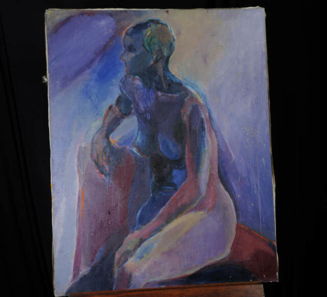 ABSTRACT BLUE NUDE by ISSOKO KATO (20th C) ORIGINAL OIL ON CANVAS